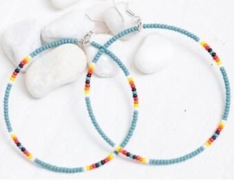 turquoise seed bead hoop earrings