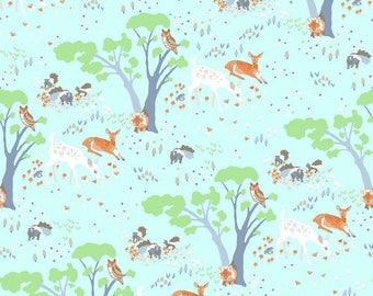 Woodland Gathering by Betsy Olmsted for Clothworks - modern organic fabric, deer fabric, forest floor, fall fabric, woods wildlife