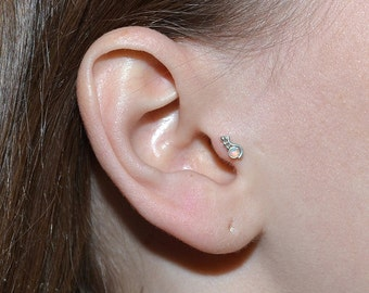 Tragus Stud Silver, Cartilage earring jewelry, Cartilage piercing, Forward helix earring, Tragus ring stud, Conch earring
