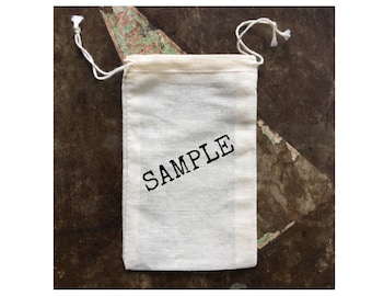 SAMPLE - Cotton favor bags, drawstring cloth favor bags. Choose style and design.