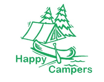 Happy Campers camping vinyl decal sticker- tent camping with canoe in forest- car window decal, for car, RV, laptop, macbook, wall, etc