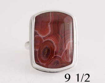 Laguna agate ring, Laguna agate and sterling silver ring, size 9 1/2, #873.