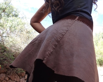 Leather Mini Skirt / Handmade Artisan /Front Wrap/ Made in Sacred Valley Peru