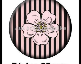Cabochon stuck resin 25 mm - flower and stripes (294)