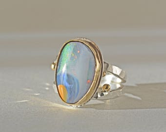 Boulder Opal Ring in Gold and Silver, Large Australia Opal Ring, Natural Opal Cocktail Ring, Blue Opal Ring, October Birthstone, Size 8
