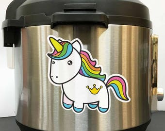 Rainbow Unicorn Colorful - Full Color Vinyl Decal Sticker for Instant Pot Instapot Pressure Cooker