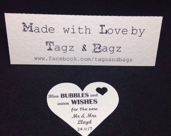 50 Blow bubbles and warm wishes wedding bubble tags