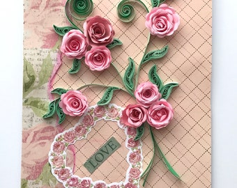 """Quilled Pink Roses """"Love"""" Greeting Card, Special Occasion"""