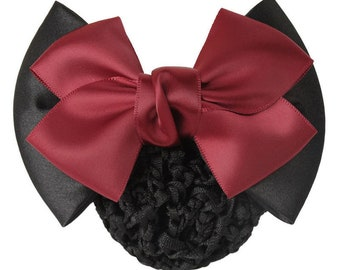 Lace Satin Black Red Bow Bun Cover Snood  Barrette Hair Clip