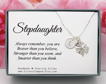 Stepdaughter Gift for stepdaughter jewelry necklace sterling silver initial shamrock unique personalized birthday gift for step daughter
