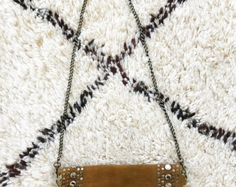 Studded Border Tan Suede Bag