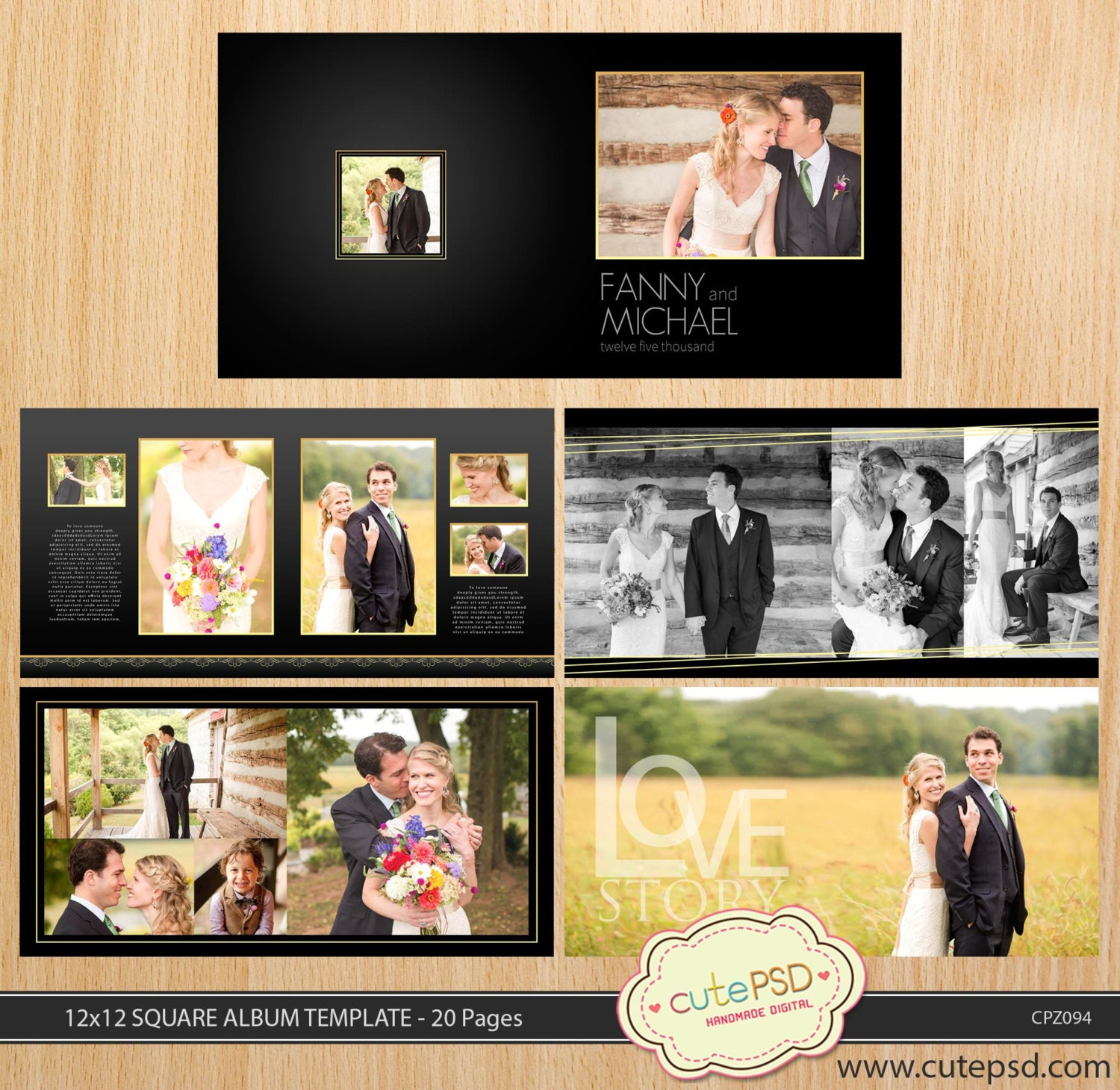 12x12 Square wedding album template 20 pages Dark Gold