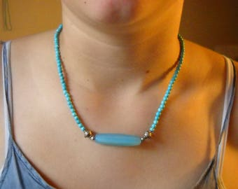 Blue Quartz and sterling silver necklace with dyed howlite.