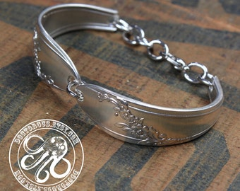Silver Spoon Bracelet - Queen Bess 1946 - Adjustable - Handcrafted by Doctor Gus - Upcycled Vintage Silverware - Bohemian Boho Gypsy Style