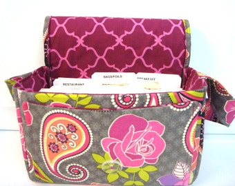 "Large 4"" Size Coupon Organizer / Coupon Bag /Budget Holder Box Attaches to Your Shopping Cart  Rose Paisleys- Select Your Size"