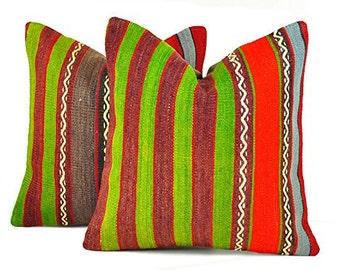 Set of 2 Kilim pillow covers, Kilim Pillow, Turkish Pillow, Kilim Cushions, Kilim, Bohemian Pillow, Turkish Kilim, KP73 (tp9-29)