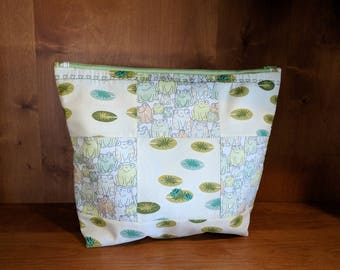 Frog and Lily Pad Quilted Zipper Pouch, Makeup Bag, Cosmetic Bag, Travel Bag, Electronic Case, Cord Storage - Frogs