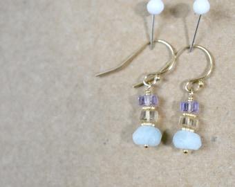 aquamarine and ametrine beaded earrings. short dangle earrings. ametrine with aquamarine. gold filled ear wires. pastel color earrings..