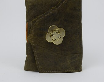 Leather Journal - Handmade paper with twist latch closure
