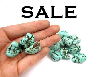 Large Dyed Howlite Turqoise Blue Rock Beads (6X) (NS580) SALE - 50% off