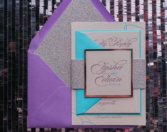 Digital Printing - Vertical Turquoise, Lavender and Diamond GlitterWedding Invitations - SAMPLE (LAUREN)