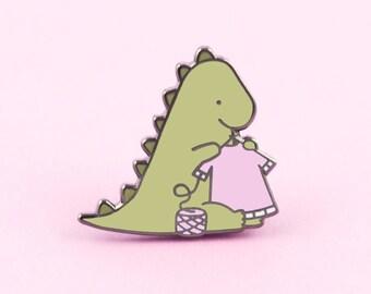 Tiny Dinosaur Knitting Pin   yarn pin, dinosaur pin, knitting pin, yarn lapel pin