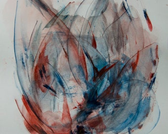 """Original floral abstract painting, large watercolor. 14""""x14.5"""" Blue and Red Transparency Crisp Delicate Fine art Living room decor"""