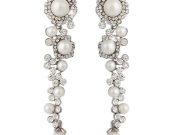 "PAIR Bridal Wedding Flower Vine Pearl Rhinestone Crystal Earrings Dangle Gauges Plugs Tunnels 4g 2g 0g 00g 7/16"" 1/2"" 6mm 8mm 9mm 11mm 12mm"
