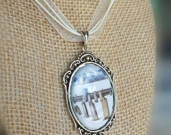 Gothic Cameo Necklace - Photo Pendant - Cameo Pendant - White Cameo Necklace - Winter Cameo Necklace - Cemetery Pendant - Steampunk Pendant