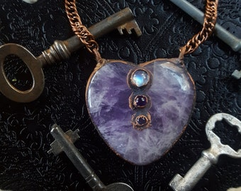 Amethyst Necklace - Amethyst Heart Pendant with Rainbow Moonstone Amethyst Iolite - Purple Crystal Heart Necklace - Isharasamt
