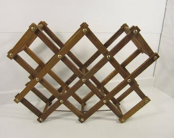 Vintage Wooden Accordian Style Wine Rack with Brass Detail Folding