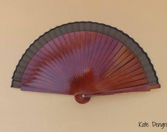 Man Fan Wood Folding Hand Fan 19cm Brown with Gold Bronze Black or Silver Wooden Spanish Hand Held Fan