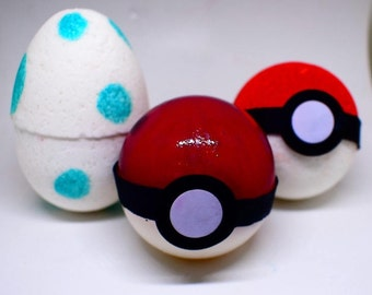 Handcrafted Pokemon Egg Bath Bomb, Soap and Red Pokemon Pokeball .Characters Hidden Inside