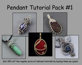 Pendant Tutorial Pack #1 - Wire Jewelry Tutorials - Save 30%