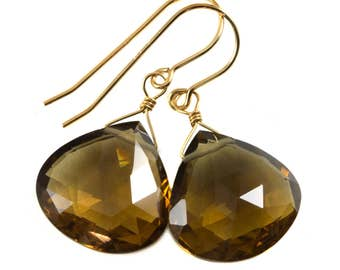 Whiskey Quartz Earrings Sterling Silver or 14k Gold Filled Faceted Teardrop Natural Rich Golden Amber Whiskey Color Classic Heart Drops 18mm