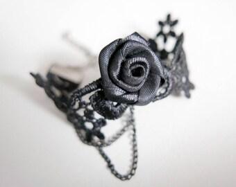 Black Rose Bracelet, Lace Bracelet, lolita bracelet, gothic bracelet
