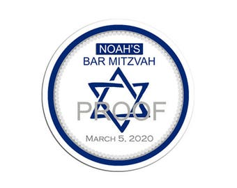 Personalized Bar Mitzvah Favor Labels, Star of David, Jewish Celebration, Bar Mitzvah Favor Tag, Candy Buffet Treat Bag, Lollipop Sticker