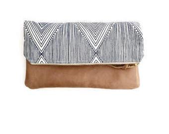 Geometric Fold Over Clutch, Clutch Bag, Navy Clutch Bag, Navy Purse, Foldover Clutch, Navy Leather Clutch, Navy Leather, Bridesmaid Gift