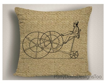 Throw  Pillows, Burlap Pillows, Steam Punk, Steam Punk Furniture, Home Decor, Steam Punk Art, Steam Punk Pillow, Steam Punk Bike