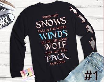 Game of Thrones  T-Shirt, Pack Survives T-Shirt, Stark Family Motto T-Shirt, GOT Inspired Tee, T-Shirt for Men, Tees for Women
