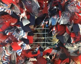 Red/White/Blue Handmade Rag wreath