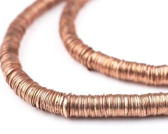 748 Copper Interlocking Crisp Beads: Ethnic Metal Beads Metal Spacer Beads Rustic Copper Beads Copper Heishi Beads (MET-HSH-CPR-640)