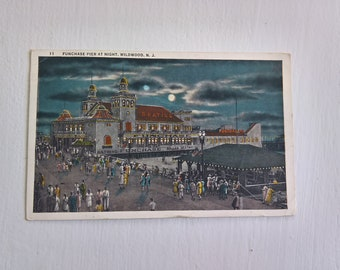 Vintage Funchase Pier at Night Postcard --- Retro 1930's Wildwood New Jersey Boardwalk History Souvenir Mail -- Summer Down the Jersey Shore