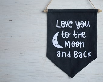 love gift for kids room wall decor nursery wall art girlfriend gift wall banner wall hanging gift for wife love you to the moon and back kid
