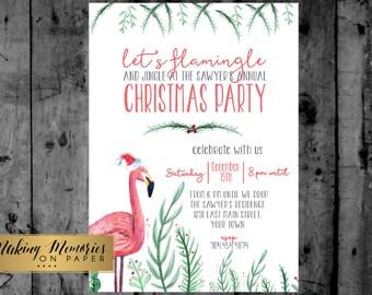 Flamingo Birthday Invitation, Flamingo Christmas Invitation, Pink Flamingo, Christmas Birthday, Flamingle, christmas in july