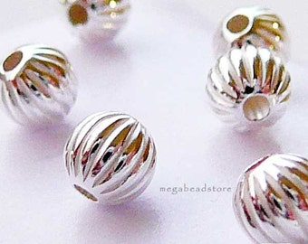 20 pcs 4mm Sterling Silver Beads Corrugated Beads B39C