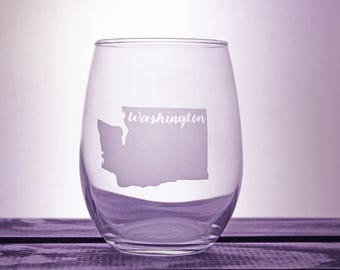 Washington State - Glassware - Wine Glass - Seattle - State Love - Gift Ideas - Gifts for her - Gifts for him