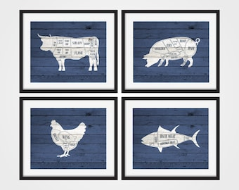 Butcher Chart Art Prints, Cow Butcher Chart, Set of 4 Prints, Meat Cuts, Kitchen Decor, Rustic Art, Butcher Prints, Blue Kitchen Decor