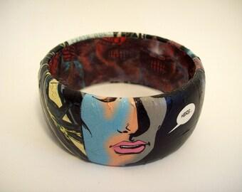 Aliens comic bracelet, Horror jewelry, comic art, geek girl, wearable art, xenomorph bracelet, H.R. Geiger