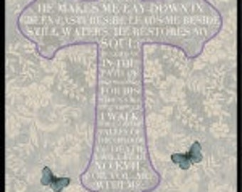 "Walk By faith,Cross The Lord is my Shepherd Panel 44x24"" Blank Textile"